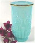 Click here to enlarge image and see more about item AAA827: Aqua Opalescent Tumbler Vase - AVON