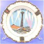 Click here to enlarge image and see more about item AAA834: Tobacciana ~ Porcelain Ashtray ~ Seattle Worlds Fair