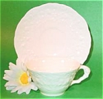 Click here to enlarge image and see more about item AAA8: Pope Gosser White Rose Point Cup and Saucer ~ Imperfect