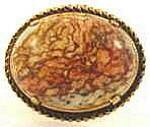 Click here to enlarge image and see more about item AAA945: Vintage Jasper Cabashon Brooch Pin