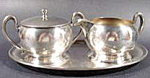 Click here to enlarge image and see more about item AAA958: Silverplate Sugar and Creamer Set with Tray