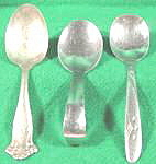 Click here to enlarge image and see more about item AAA968: Lot of 3 Baby Infant Spoons ~ All Different