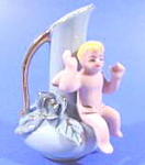 Cherub and Rose Miniature Porcelain Vase Pitcher