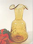 Crackle Glass Vase - Honey Amber