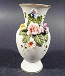 Lefton Miniature Bisque Vase with Applied Flowers
