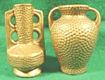 Pair of Gold Color Ceramic Miniature Vases