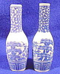 Click to view larger image of Oriental Porcelain Bud Vase - Pair - Blue Transfer (Image1)