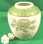Click here to enlarge image and see more about item B129: Handpainted Porcelain Vase with Gold Trim ~ Vintage