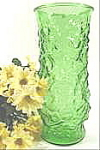 Click here to enlarge image and see more about item B143: Pressed Glass Crinkle Vase - Green