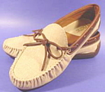 Click here to enlarge image and see more about item B161: Moccasin Style Shoes - Tan and Brown - 10W
