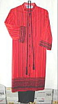 Click here to enlarge image and see more about item B183a: Alfred Shaheen Print Tunic and Pant Dress - Size 12