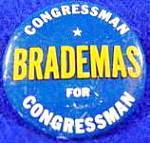 Click here to enlarge image and see more about item B186: John Brademas Political Campaign Button