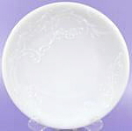 Click here to enlarge image and see more about item B197: Embossed Antique Milk Glass Plate
