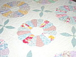 Click here to enlarge image and see more about item B210: Antique Hand Stitched Dresden Plate Quilt - Cone Border