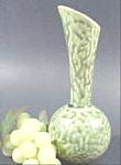 Click here to enlarge image and see more about item B216: Unusual Mottled Green Pottery Bud Vase