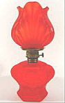Click here to enlarge image and see more about item B218: Red Satin Glass Antique Kerosene Oil Lamp ~ Miniature