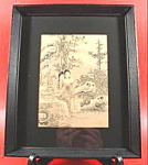 Click here to enlarge image and see more about item B238: Oriental Geisha Print - 1942 - Hand Colored