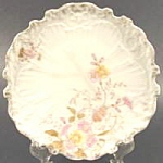 Click here to enlarge image and see more about item B308: Antique Plate - Scalloped and Embossed Scroll Design