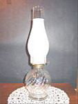 Click here to enlarge image and see more about item B311: Clear Glass Swirl Pattern Kerosene Oil Lamp