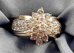 Click here to enlarge image and see more about item B337: 14K Y.G. Diamond Cocktail Ring - Size 8 - Estate Find