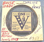 Click here to enlarge image and see more about item B351: Merchant Retail Victory Stamp ~ Boise, Idaho