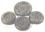 Bakelite Buttons ~ Set of 4 ~ Mottled Gray Black