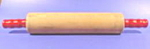 Click here to enlarge image and see more about item B524: Wooden Rolling Pin - Red Handles
