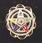 Click here to enlarge image and see more about item B544: 14K Y.G. Eastern Star Masonic Diamond Ring - Size 8
