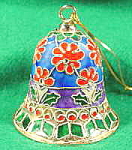 Click here to enlarge image and see more about item B547: Christmas Ornament ~ Cloisonne Bell ~ Metal and Enamel