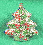 Click here to enlarge image and see more about item B548: Cloisonne Christmas Tree Ornament - Brass and Enamel