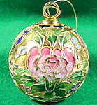 Click here to enlarge image and see more about item B549: Cloisonne Christmas Ornament ~ Metal and Enamel