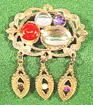 Costume Goldtone Multicolor Stone Brooch Pin - Vintage