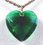 Costume Emerald Green Heart Pendant - 1950s