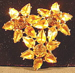 Click here to enlarge image and see more about item B573: Costume Amber Rhinestone Brooch Pin - Vintage