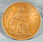 Click here to enlarge image and see more about item B595: Great Britain One Penny Coin - 1945