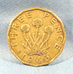 Click here to enlarge image and see more about item B597: Great Britain 1943 Three Pence Coin