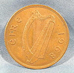 Click here to enlarge image and see more about item B599: Coin - Ireland 1968 Penny - Bronze