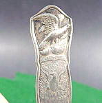Click here to enlarge image and see more about item B646: Silverplate Sugar Spoon ~ Eagle and Great Seal ~ Rogers