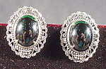 Click here to enlarge image and see more about item B652: Black Cabashon and Silver Earring Set - Clip Style