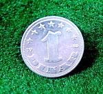 Click here to enlarge image and see more about item B670: Coin - Yugoslavia 1 Dinar - 1953