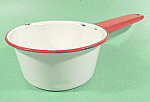 Click here to enlarge image and see more about item B679: Graniteware Saucepan - White with Red Trim