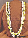Faux Pearl and Yellow Bead Rope Necklace ~ Plastic ~ 52