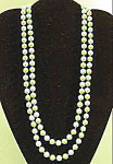 Blue and Green Plastic Rope Bead Necklace - 48 inches