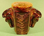 Click here to enlarge image and see more about item B737: Double Horse Head Vase ~ Pottery ~ Brown Glaze