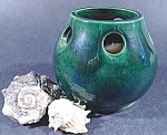 Click here to enlarge image and see more about item B751: Green Pottery Candle Holder ~ Portugal
