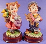 Figurine ~ Small Boy and Girl with Flowers ~ 2 Pcs.