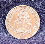 Click here to enlarge image and see more about item B802: Coin - Bahama One Cent  - 1987