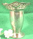 Click here to enlarge image and see more about item B80: Silverplated Antique Miniature Vase