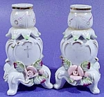 Click here to enlarge image and see more about item B817: Candle Holders Sticks Footed Porcelain Pair ~ Antique