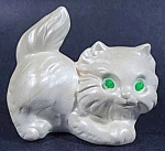 Cat Kitten Figurine With Green Rhinestone Eyes